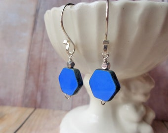Blue Hexagon Earrings, Cornflower Blue Glass Bead Earrings