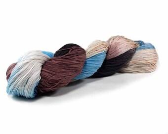 150 Yards Hand Dyed Cotton Crochet Thread Size 10 3 Ply Specialty Thread Blue Brown Ecru Beige Fine Hand Painted Cotton Yarn
