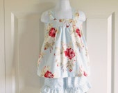 Apron Style Pinafore Top and Bloomers or Ruffle Shorts Set for baby or toddler girls - 3 mos to 8 - Antique Rose in Blue - Petal Collection
