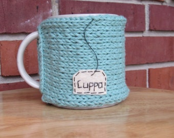 Knitted cuppa tea mug cozy cup cozy coffee mug cozy in seaspray