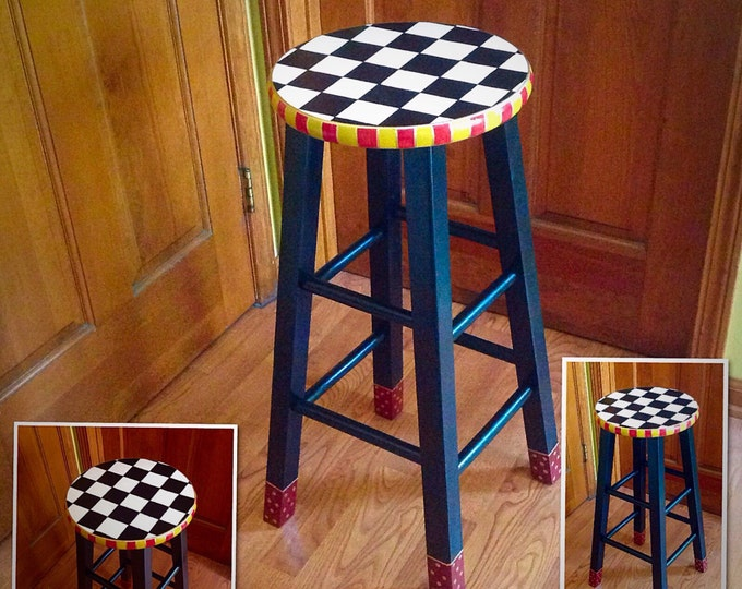 """Whimsical Painted Furniture, Painted bar stool // 24"""" or 29"""" hand painted custom round top wooden bar stool // counter stool - chair"""