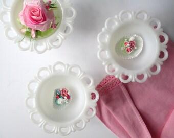 Vintage Milk Glass Lacy Pedestal Bowls Set of Three