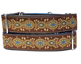 "RENAISSANCE DOG BLUE Brown and Blue 1.5"" wide 17-24"" Martingale Dog Collar, Safety Collar, Greyhound Collar, Sighthound Collar, Adjustable"