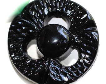 Button ~ Glass  Black  Pierced  Vintage - Medium