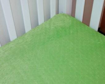 Crib Bedding, Crib Minky Fitted Sheet, Lime Green Sheet, Toddler Bedding