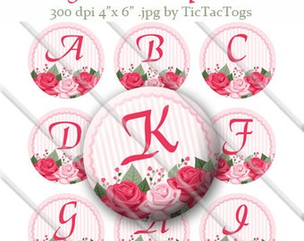 Shabby Rose Bottle Cap Digital Images Set 1 Inch Circle Alphabet Alpha A-Z 4X6 - Instant Download - BC486