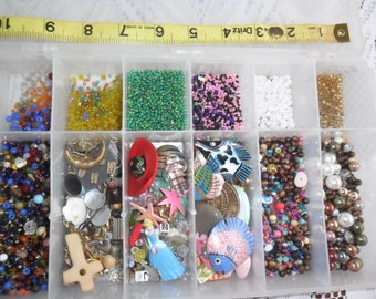 Container FILLED w/asstd Beads, Findings, Coral, and So Much