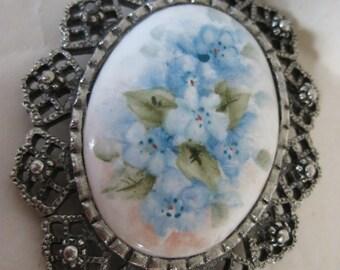 Flower Blue Pastel Silver Brooch Ceramic Porcelain Vintage Pin
