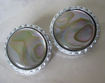 Abalone Silver Earrings Clip Round Vintage Japan