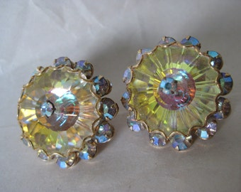 Champaign Aurora Earrings Clip Yellow Gold Vintage