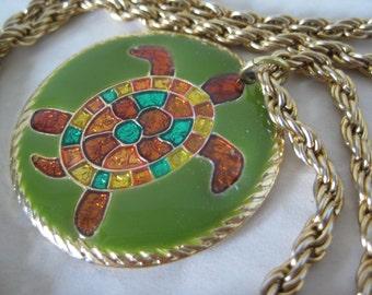 Turtle Green Amber Gold Necklace Pendant Vintage Enamel
