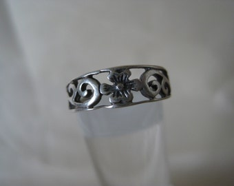 Flower Sterling Toe Ring Vintage Silver Adjustable 925
