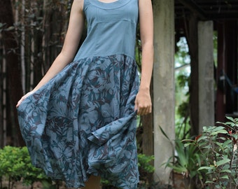 My lady...Blue Gray Floral   (M,L,XL)