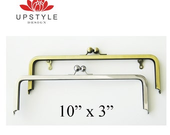FREE Shipping - Set of TWENTY - 10 x 3 Metal Purse Frames - Nickel Free Nickel, Antique Brass - with or without chain loops