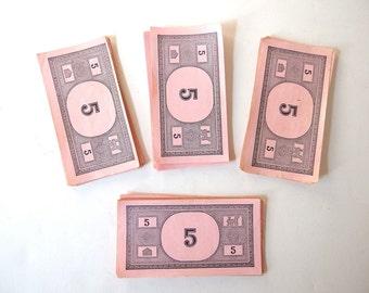 40 Vintage Monopoly Money Fives