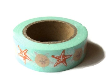 Washi Tape, Sea Shells , Eyelet Outlet Brand, 15mm x 10m (over 32 ft.), Teal Green Orange, Beach Themed