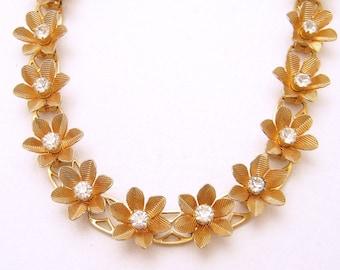 Rhinestone Flower Necklace Vintage Jewelry N6657