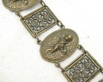 Brass Panel Bracelet Cupid Framed Filigree Vintage Jewelry B6695