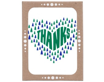 Evergreen Tree Thanks -- Boxed Set of Six Thank You Cards