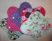 Cloth menstrual pads set of five 8 inch in pretty feminine prints