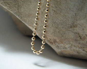 33 inch 14K Gold fill Ball Chain Necklace with Lobster Clasp 2mm Beads