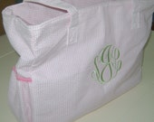 Monogramed Seersucker Diaper Bag with Matching little bag great for makeup, wipes....