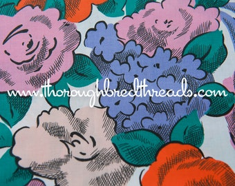 Colorful Bold Blooms- Vintage Fabric New Old Stock 80s Polished Cotton