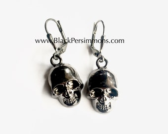 Victor - Gunmetal 3D Gothic Skull Charms Earrings - Large Kidney Ear Wires - 3 Different Finishes