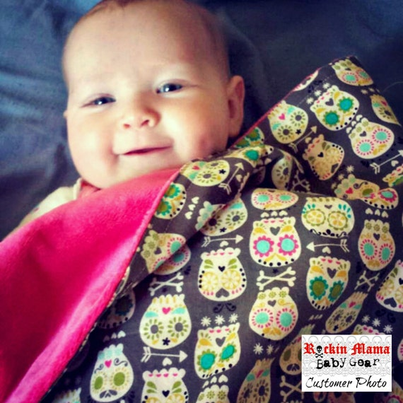 LAST ONE - Bonehead Sugar Skulls Baby Blanket - Choose your Minky