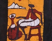 small South African batik art panel - woman sitting