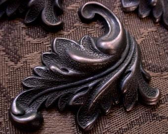 2pc French Flourish Leaves High Relief Vintage Stl Texturized Ornate Carved Oxidized Dark Brown Black Bronze Patina Brass Goth Victorian 6B