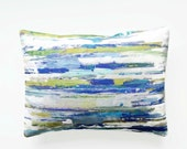 12 x 16 inch lumbar decorative pillow cover abstract art , blue green white lilac lines cushion cover