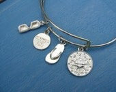Bangle Beach Bracelet with Summer Charms Silvertone Adjustable Sun Flip Flop Sunglasses Summer Fun