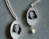 Oval Custom Silver Photo Necklace with Pearl Drop