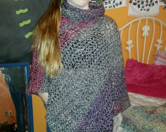 Crocheted Poncho Jewel Tones