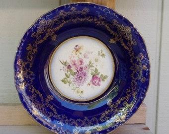 Ridgways Flow Blue Serving Bowl Floral