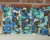 Pillow Upcycled Fabric 12 x 20 Teal Aqua Blue Stripe Floral Vintage Lumbar