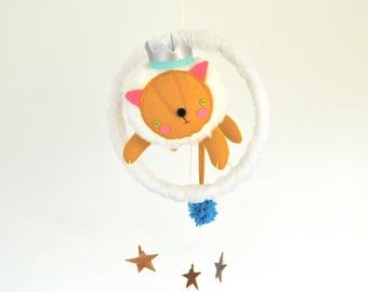 Flying Circus Lion Mobile // Sweet, fun nursery 3-D art // baby mobile makes a great gift for unique and quirky new parents