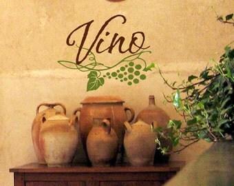 Kitchen Wall Decal Italian Vino Wine Kitchen Viny Letteringl Wall Sticker
