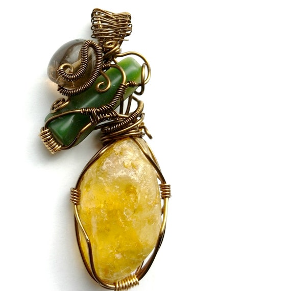 Amber Pendant Wire Wrapped Pendant Handmade Jewelry New Zealand Jade Smoky Quartz Crystal Statement Necklace Healing Jewelry Wire Wrapping