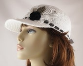 Crochet Cotton Thread Summer Cap with A Black Rose Irish Crochet Black and White Wedding Hat