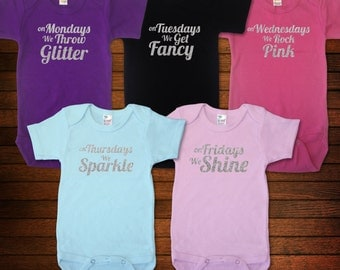 Days of the Week Glitter - One Piece Bodysuit - Funny Baby Gift