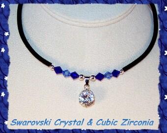 Cubic Zirconia and Swarovski Crystal Necklace
