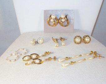 Vintage Jewelry - Pearl Earring Collection - 7 pair