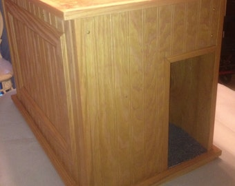 Large Kat Litter Kabinet - 100% Wood - Litter/Odor Control - Choice of Finishes - Dog and Child Proof - Walk-in Entry - Bench, Plant Stand