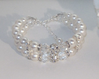 Swarovski Pearl & Crystal Bridal Jewelry - Bracelet - Any Color or Combo