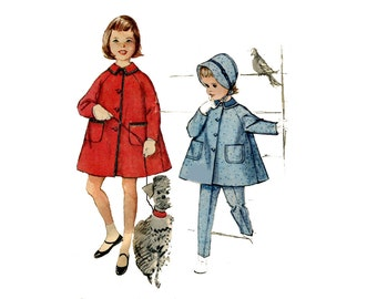 1960s Girls Coat Hat and Pants Pattern Flare Tent Coat Bonnet Tapered Pants Johhny Collar Simplicity 3654 Size 3 OR 5 Vintage Sewing Pattern
