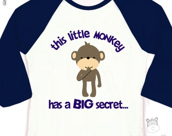 Big brother shirt - monkey has a secret big brother to be pregnancy announcement  raglan shirt