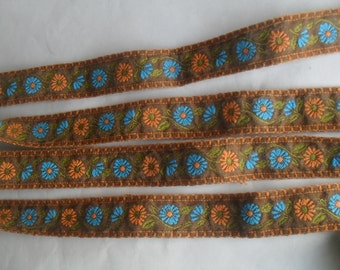 Embroidered Decorative Woven wide Ribbon Trim Craft Two NOS