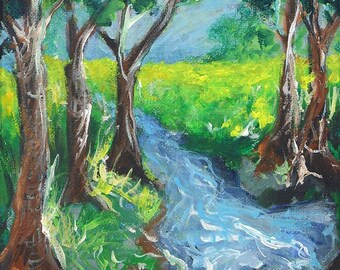 tree painting, Meadow Stream, original painting on canvas, art, water painting, landscape, steam, river painting